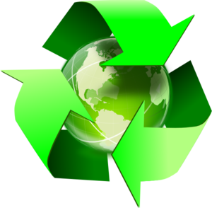 Recycling icon, with green arrows circling the planet Earth.