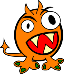 An orange email monster baring its teeth.