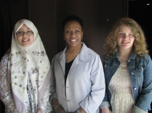 Yamna (L) and Elizabeth (R), with Winifred Torbert from the Center for Inclusion.
