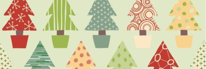 Wrapping paper with holiday trees in a variety of colors