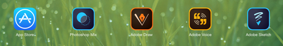 Adobe software icons on the iPad