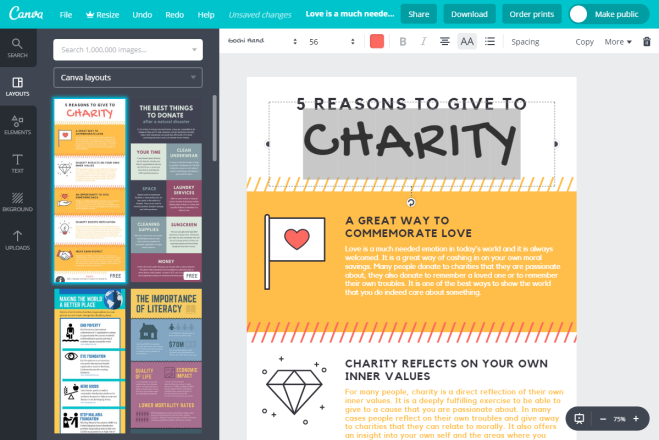 Screenshot of Canva software tool