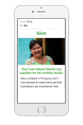 sample donation page on a mobile phone